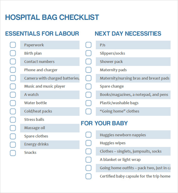 Newborn Checklist Sample - 8+ Documents In Pdf