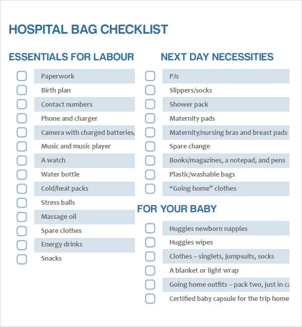 Newborn Checklist 8 Free Download For Pdf