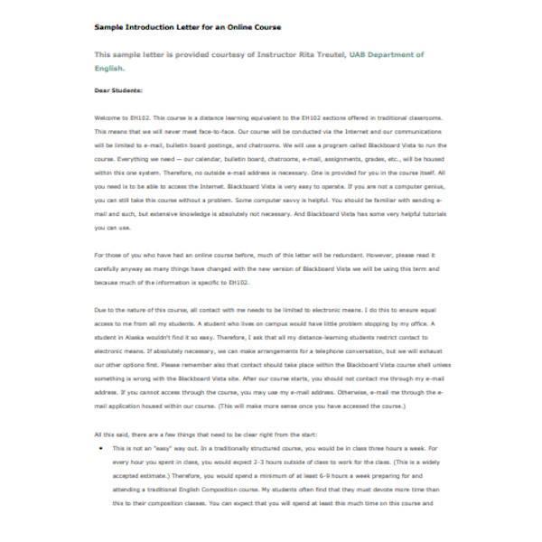 online course introduction letter