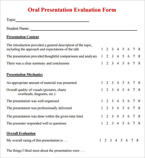 Sample Presentation Evaluation   Examples  Format