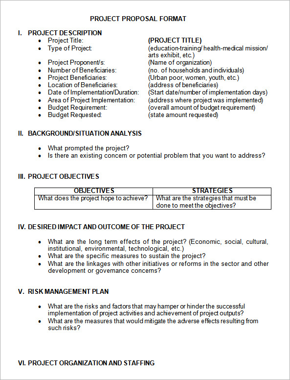 Sample Project Proposal Template   Free Documents In Pdf Word