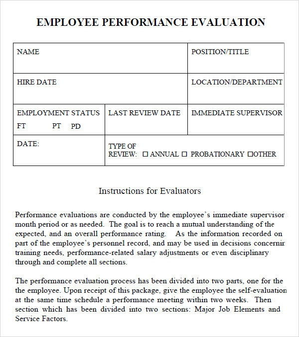Performance Evaluation   Download Free Documents In  Word