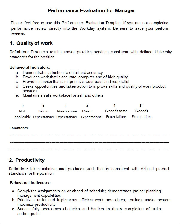 employee evaluation template word