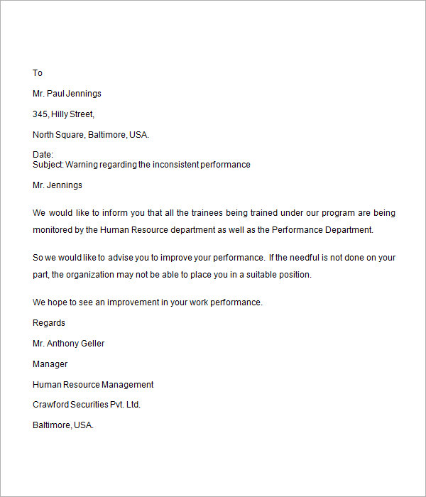 Sample Warning Letter To Manager For Poor Performance