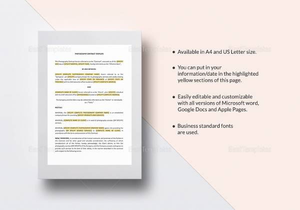 photography contract template1