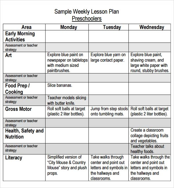Kindergarten Weekly Lesson Plans Pdf: Preschool Lesson Plan Template 8 ...