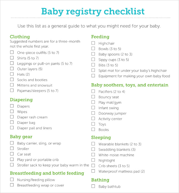 Sample Baby Registry Checklist   Documents In Pdf Excel
