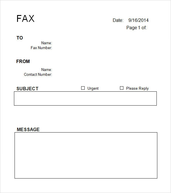 sample fax cover letter template