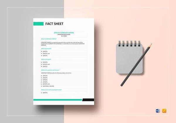 Sample Fact Sheet Template   Free Download Documents In Pdf  Word