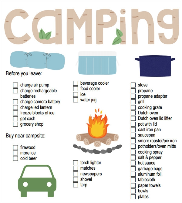 Sample Camping Checklist   Documents In Word Excel Pdf