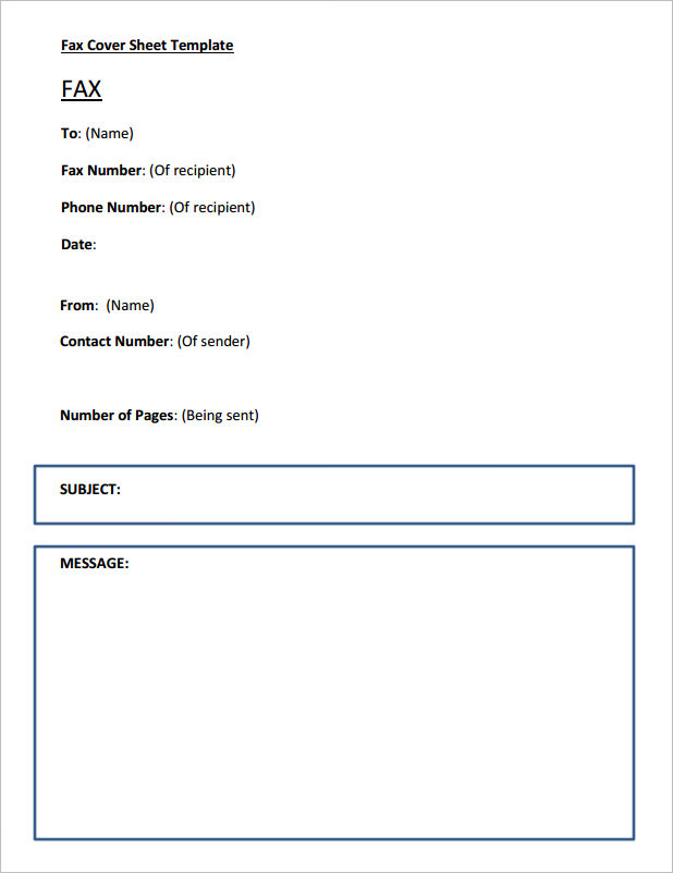 Printable Fax Cover Sheet Template  Fax Sheet Template