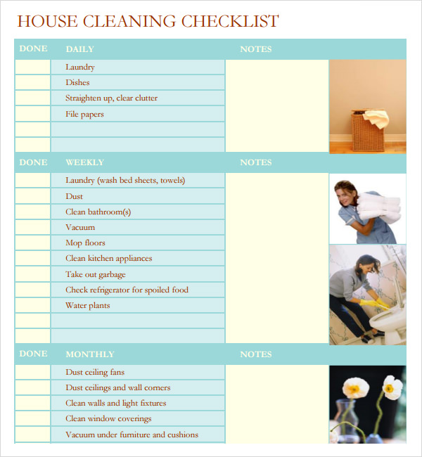 Sample House Cleaning Checklist   Documents In Word Pdf