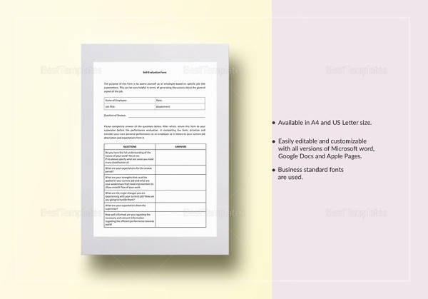 printable self evaluation template