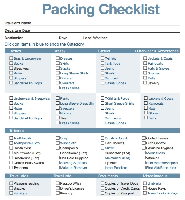 Printable Packing List Template