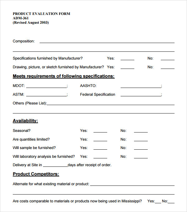 product evaluation form template