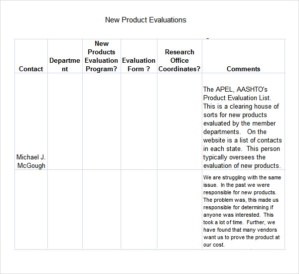 Product Evaluation 6 Download Free Documents in PDF Word Excel – Product Evaluation Template