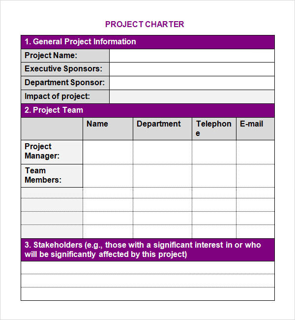 Project Charter Template | Sample Templates
