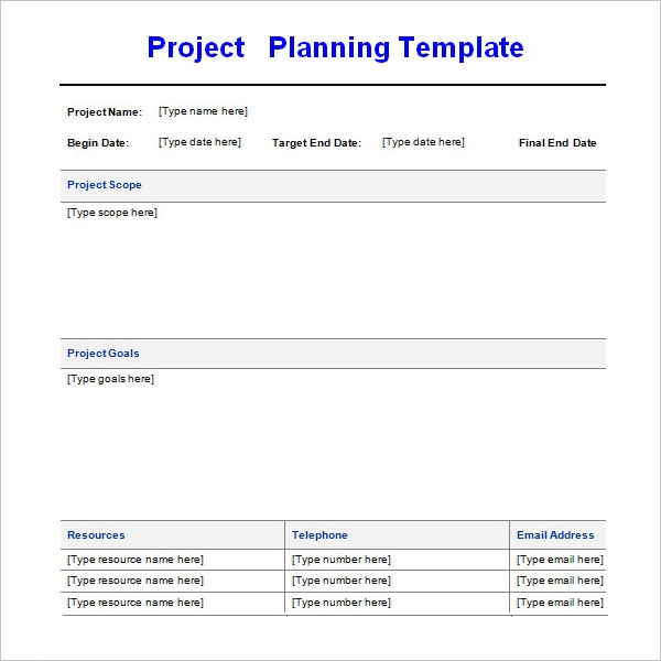 project planning schedule template format