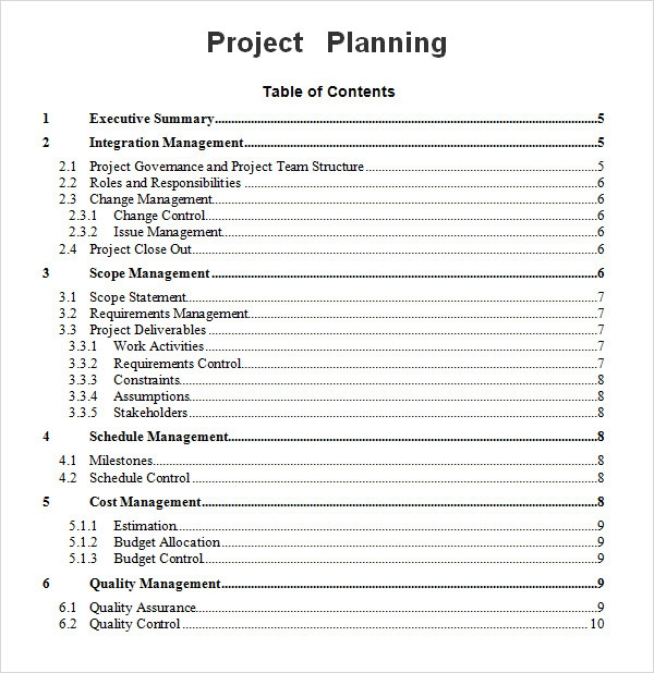 project planning schedule for word