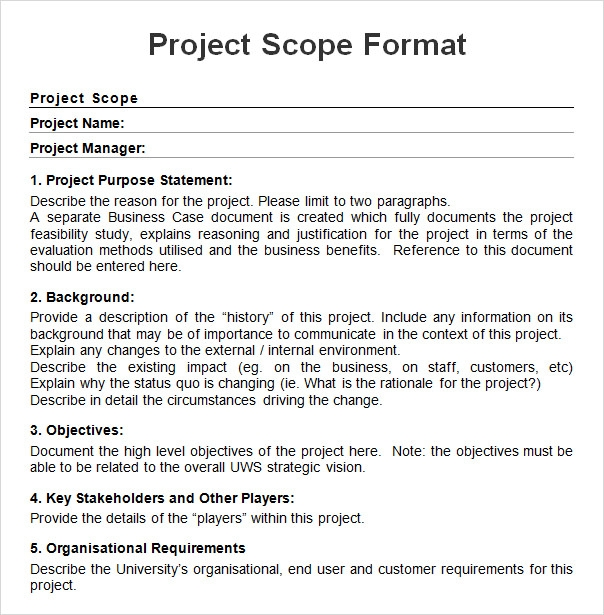 8 sample project scope templates pdf word sample for Marketing scope of work template