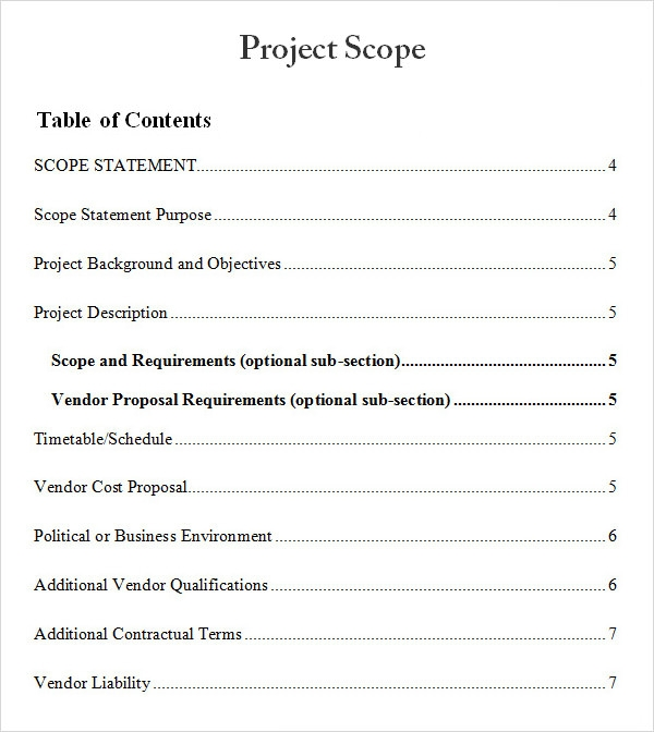 Project Scope Statement Template Download