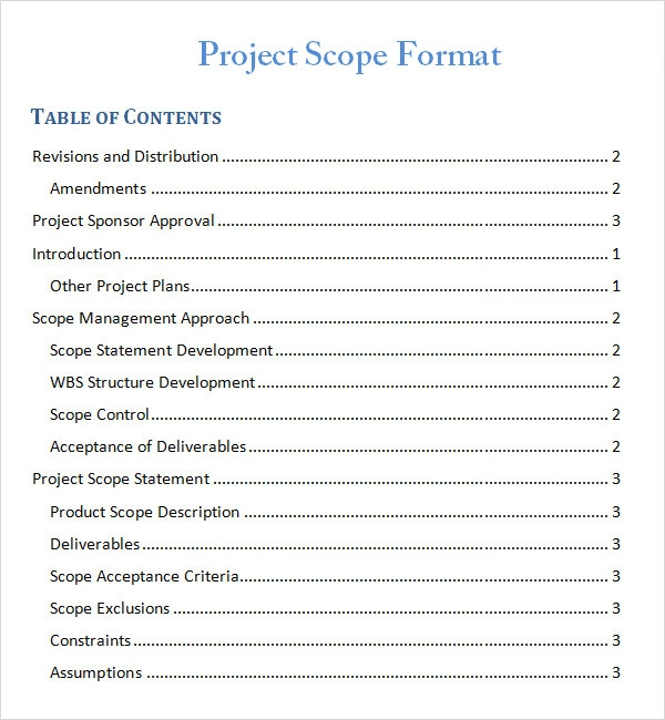 Project Scope Template   8  Free Download for Word Pdf Sample pTkHqlwT