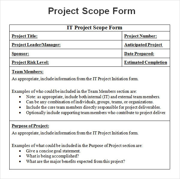 it scope of work template - 8 sample project scope templates pdf word sample