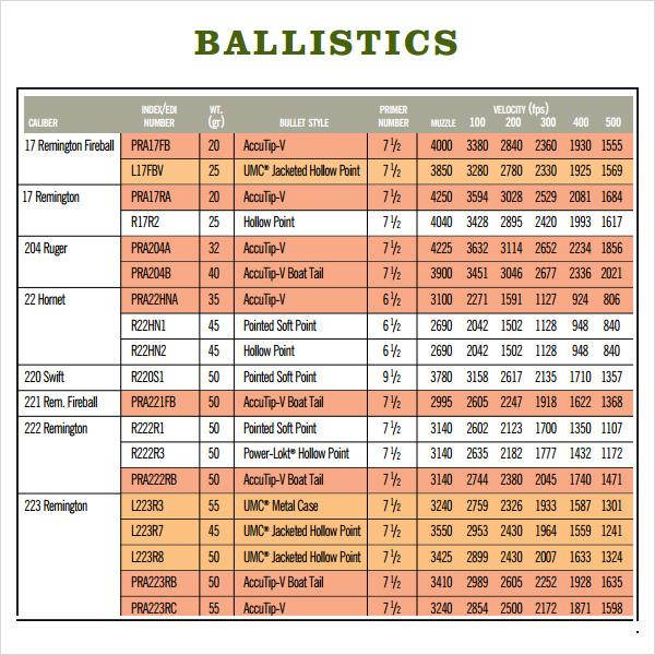 Sample Ballistics Chart 3 Documents in PDF – Ballistics Chart