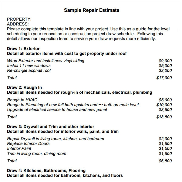 9 sample estimate templates sample templates for Exterior house painting estimate template