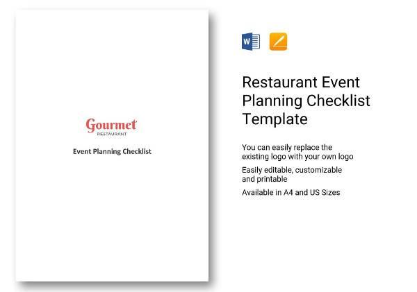 restaurant event planning checklist template