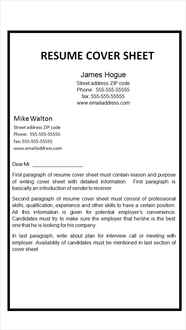 Resume cover page example