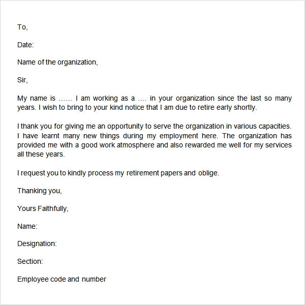 retirement resignation letter