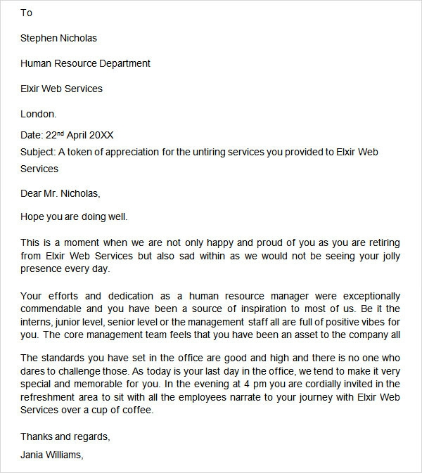 retirement letter of appreciation