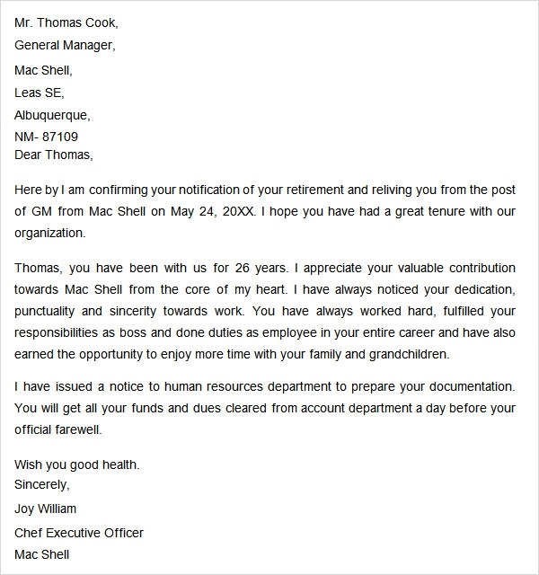 retirement notice letter. Resume Example. Resume CV Cover Letter