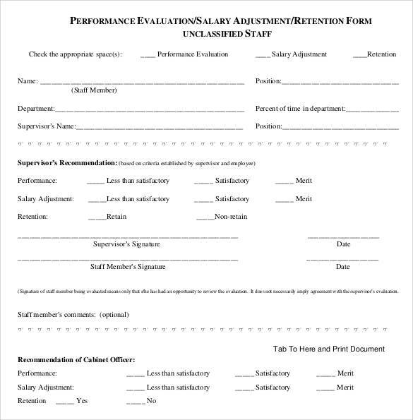 salary employee evaluation form