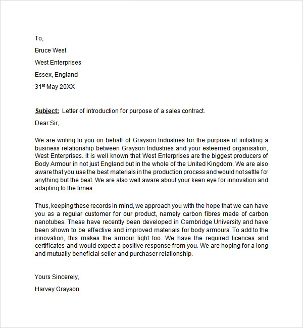 Introduction Letter Introduction Letter Sales Contract Introduction