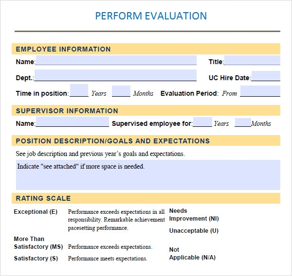 Performance Evaluation Sample Template  Performance Evaluation Templates