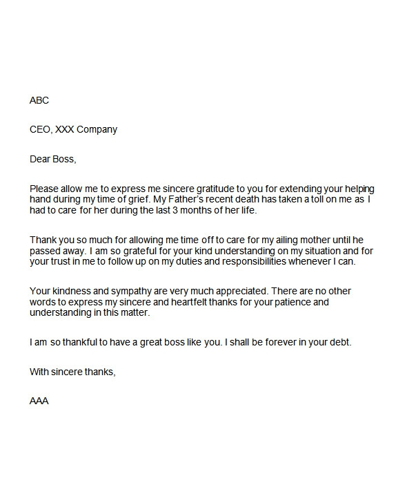 thank you letter to manager sample letter of appreciation to your boss