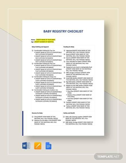 sample baby registry checklist
