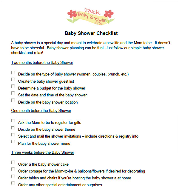 Baby Shower Checklist 6 Free Download for PDF Excel – Baby Shower Checklist