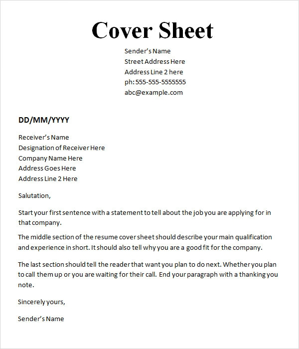 Example Of A Cover Sheet  CityEsporaCo