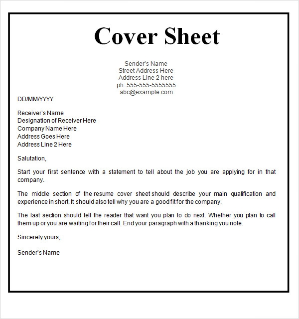 Sample Page: Cover Sheet Template - 9+ Free Download For Word,PDF