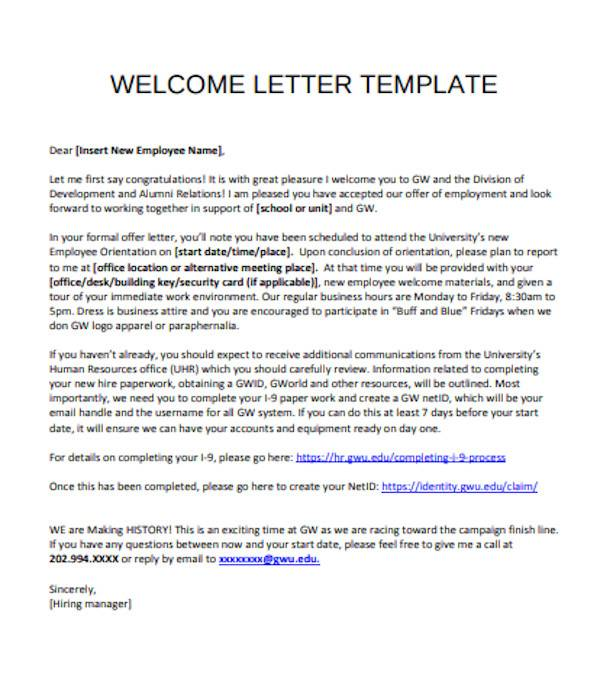sample employee welcome letter template