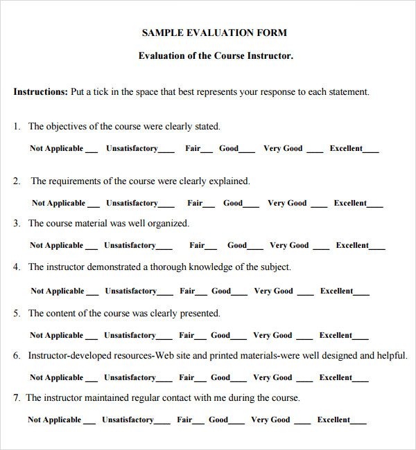 Sample Teacher SelfEvaluation Forms – Teacher Evaluation Form