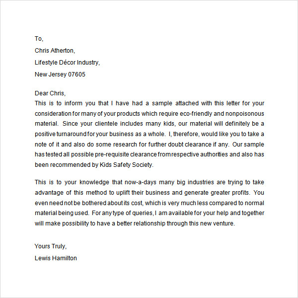 Cementing A Business Relationship Letter Sample