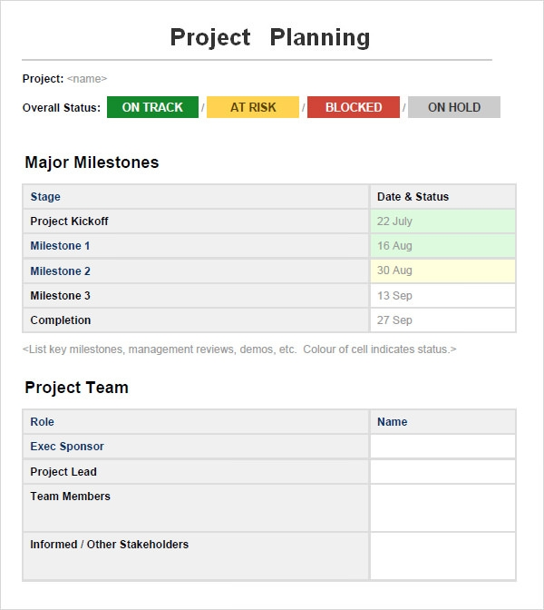 Project Planning Template 4 Free Download For Word
