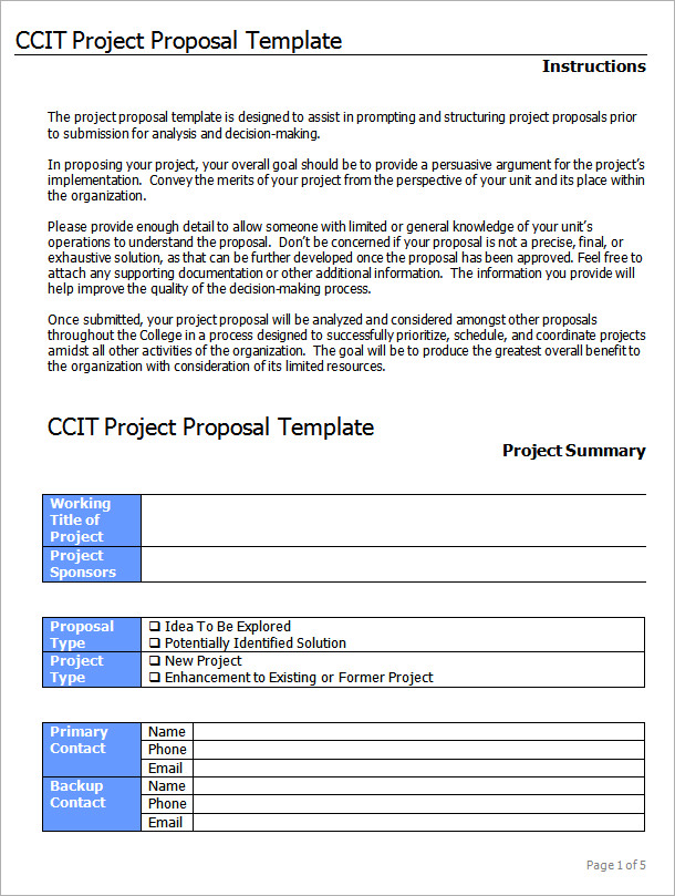 Simple Project Proposal Template Word