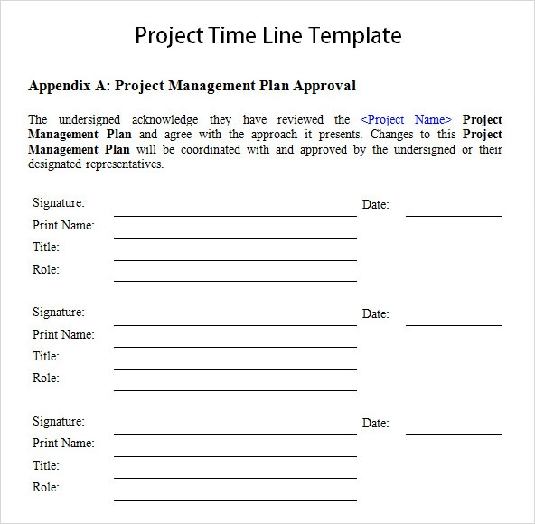 Sample Project Timeline Template Word