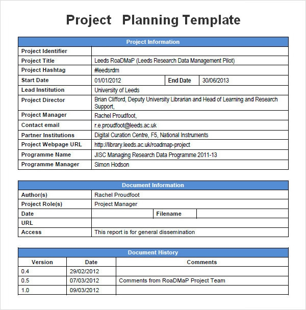 software project proposal template word - project planning template 5 free download for word