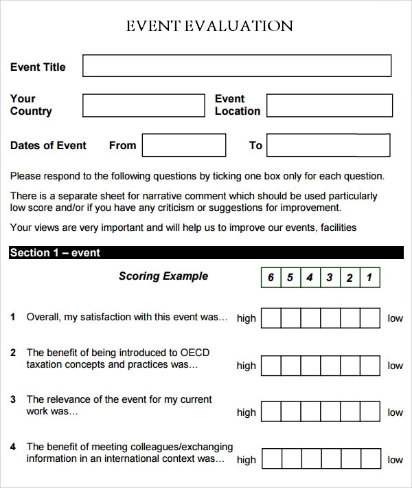 Sample Event Evaluation Form